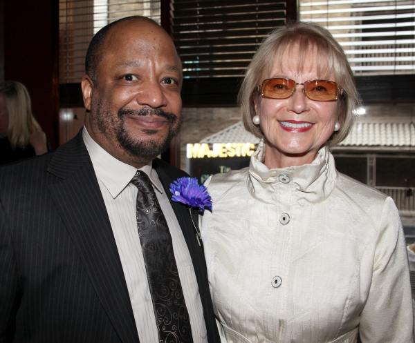 Sheldon Epps & Diane Fay Skomars attending the Pasadena Playhouse Pre-Broadway Opening Night Reception for 'Baby It's You!' at Angus Restaurant in New York City.