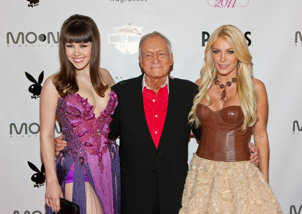 Claire Sinclair, Hugh Hefner and Crystal Harris