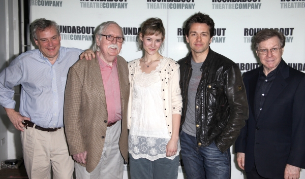 Doug Hughes (Director), Thomas Meehan (Book), Jill Paice, Julian Ovenden & Maury Yeston (Music & Lyrics) attending the Meet & Greet for The Roundabout Theatre Company's off Broadway Production of 'Death Takes A Holiday' in New York City.