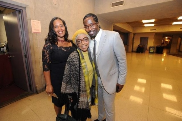Producer Jewel Kinch-Thomas, Ruby Dee, and Director/Writer/Co-Composer Daniel Beaty Photo