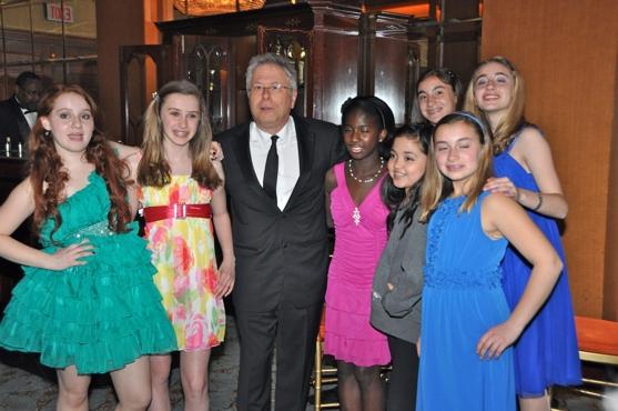 Alan Menken with Hannah Skokan, Melissa Barrow, Montana Byrne, Mackenzie Popielarz, Victoria Napolitano, Jacqueline Napolitano, and Julia Napolitano