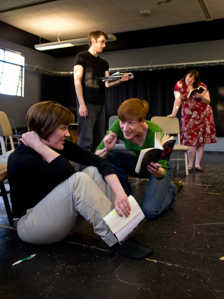 Paige (Zandi Carlson) has a chat with Claire (Colleen Carey) as Mira (Amelia Meckler) Photo