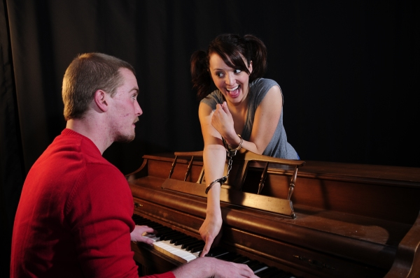 """Cameron Varner as """"Beethoven"""" (Schroeder) and Karli Kaiser as """"Van's Sister"""" (Lucy) Photo"""