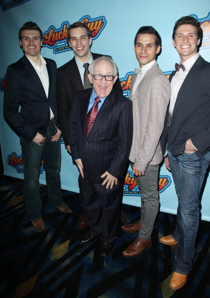 Joshua Woodie, Wes Hart, Leslie Jordan, Xavier Cano & Callan Bergmann attending the Opening Night After Party for 'Lucky Guy' at Planet Hollywood in New York City.