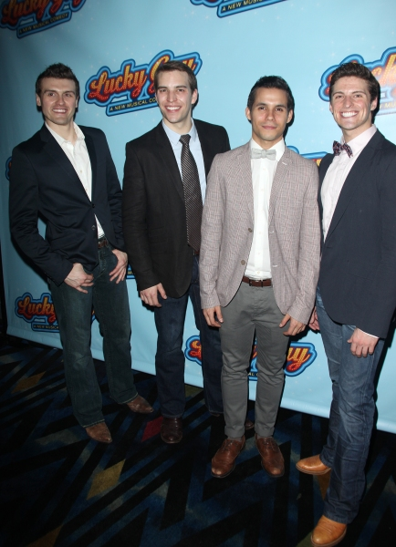 Joshua Woodie, Wes Hart, Xavier Cano & Callan Bergmann attending the Opening Night After Party for 'Lucky Guy' at Planet Hollywood in New York City.