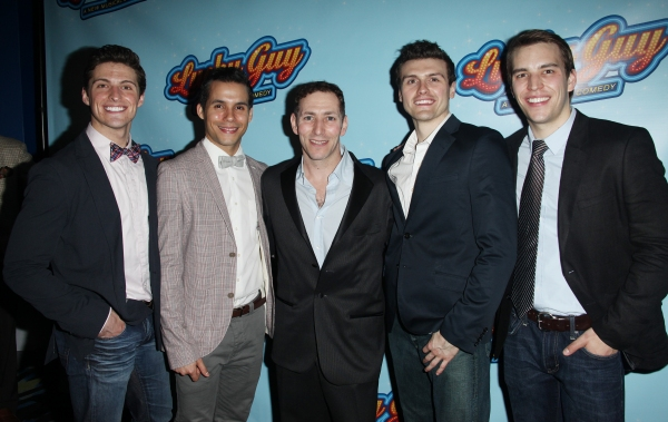 Callan Bergmann, Xavier Cano, A. C. Ciulla, Joshua Woodie & Wes Hart attending the Opening Night After Party for 'Lucky Guy' at Planet Hollywood in New York City.