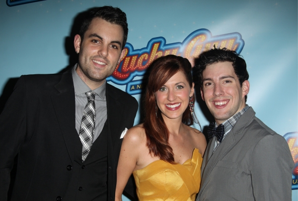 Understudy Zak Resnick, Meggie Cansler and Ryan Koss attending the Opening Night After Party for 'Lucky Guy' at Planet Hollywood in New York City.  at LUCKY GUY Opening Night Party!