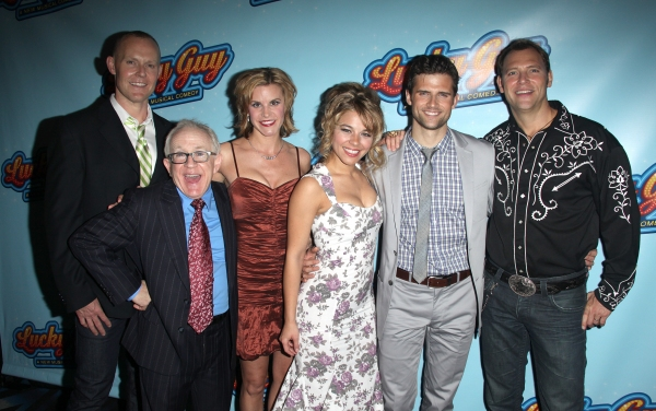 Varla Jean Merman, Leslie Jordan, Jenn Colella, Savannah Wise, Kyle Dean Massey & Jim Newman attending the Opening Night After Party for 'Lucky Guy' at Planet Hollywood in New York City.