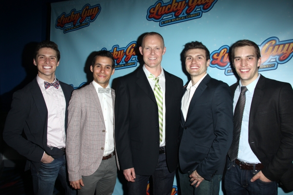 Callan Bergmann, Xavier Cano, Varla Jean Merman, Joshua Woodie & Wes Hart attending the Opening Night After Party for 'Lucky Guy' at Planet Hollywood in New York City.