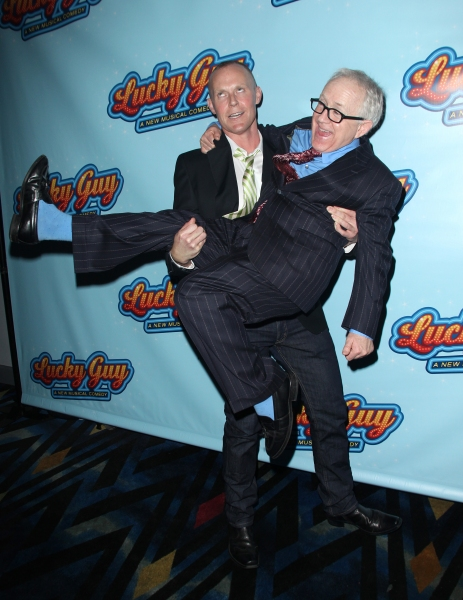 Varla Jean Merman & Leslie Jordan attending the Opening Night After Party for 'Lucky Guy' at Planet Hollywood in New York City.
