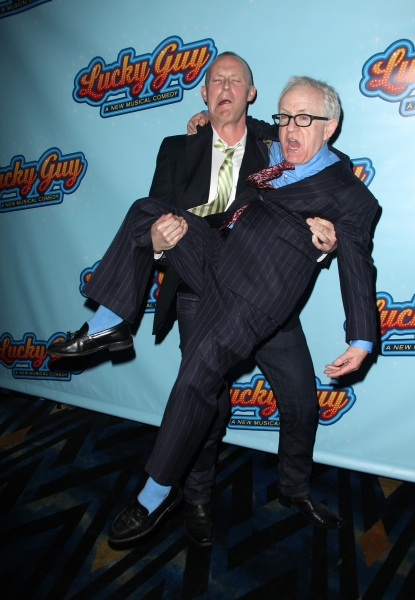 Varla Jean Merman & Leslie Jordan attending the Opening Night After Party for 'Lucky Guy' at Planet Hollywood in New York City.  at LUCKY GUY Opening Night Party!