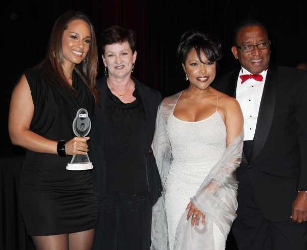 Terria Joseph & daughter Alicia Keys with Lynn Whitfield & Randall Pinkston attending the Woodie King Jr's NFT New Federal Theatre 40th Reunion Gala Benefit Awards Presentation in New York City.