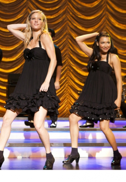 """GLEE: Brittany (Heather Morrison, C) and Santana (Naya Rivera, R) perform at Regionals in the """"New York"""" season finale episode of GLEE airing Tuesday, May 24 (9:00-10:00PM ET/PT) on FOX.  ©2011 Fox Broadcasting Co. Cr: Adam Rose/FOX"""