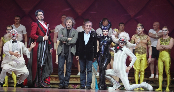 Writer and Director Francois Girard & Cirque du Soleil president and CEO Daniel Lamarre with Cast Members during the Cirque Du Soleil 'Zarkana' Rehearsal at Radio City in New York City.