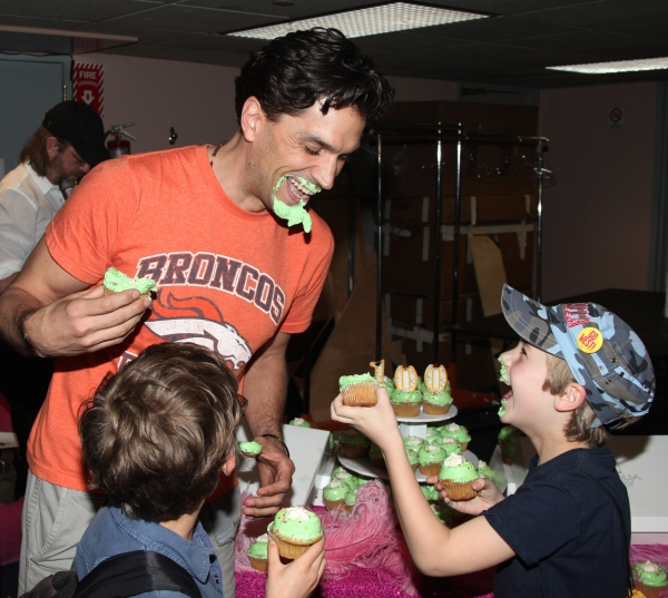 Will Swenson with Ashton Woerz & Luke Mannikus attending the Cupcake Toast celebrating 'Priscilla Queen of the Desert' and their 100th Performance on Broadway in New York City.
