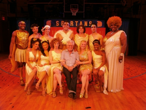 Jerry Zaks and the cast of LYSISTRATA JONES at Mo Rocca and Jerry Zaks Visit LYSISTRATA JONES!