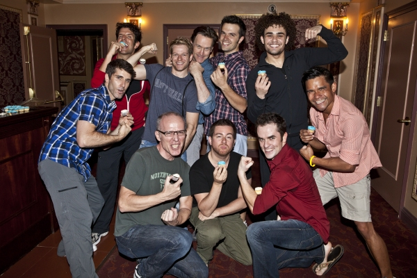 (Back Row) Tony Gonzalez, Mark Dancewicz, Timothy Booth, Blake Whyte and Andrew Chappelle (Front Row) Ryan Sander, Bryan Scott Johnson, Jon-Erik Goldberg, Corey Greenan and Gerard Salvador at MAMMA MIA! Celebrates 4,000 Performances on Broadway!
