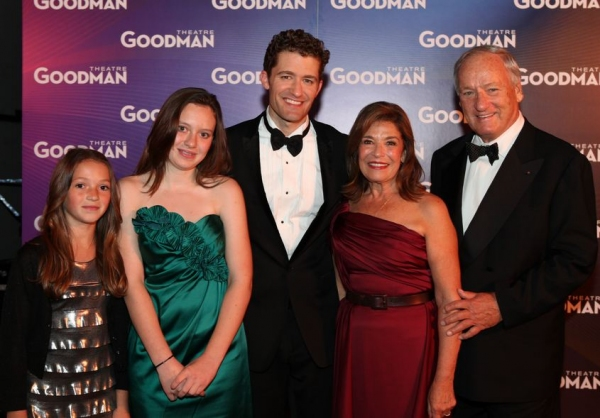 Past Chairman, Life Trustee and Women's Board member Sondra A.  Healy (second from right) along with her husband Denis and grandchildren (l to r) Tyson and Bowie Frucci meet headliner Matthew Morrison