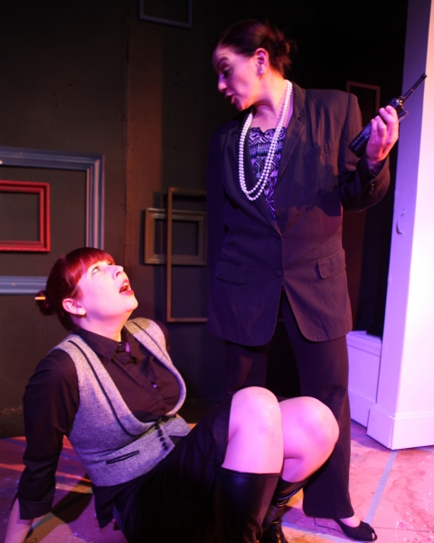 from Left: Sarah Kunchik as the Curator, Lauren B. Smith as Lucy