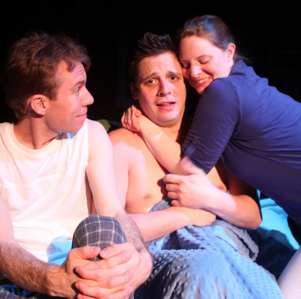 from left: Stuart Hoffman as Vin, Zac Hudak as Jame, and Jessica A. Fleming as Lila