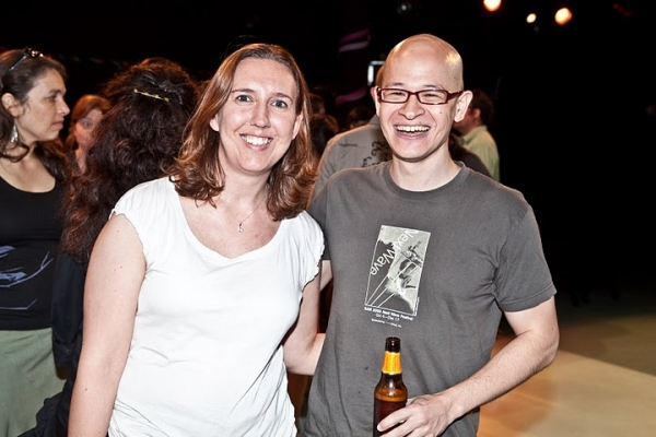 Page 73 Executive Director Liz Jones and playwright Jon Kern