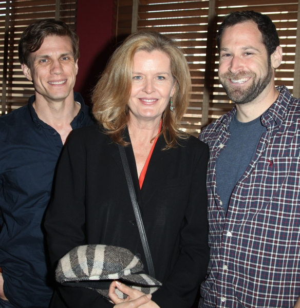 (L-R) Lee Aaron Rosen, Jordan Baker and Jon Levenson attends Sardi's unveils Caricatures of 'The Normal Heart' Tony Award Nominees Ellen Barkin, John Benjamin Hickey & Joe Mantello at Sardi's in New York City.
