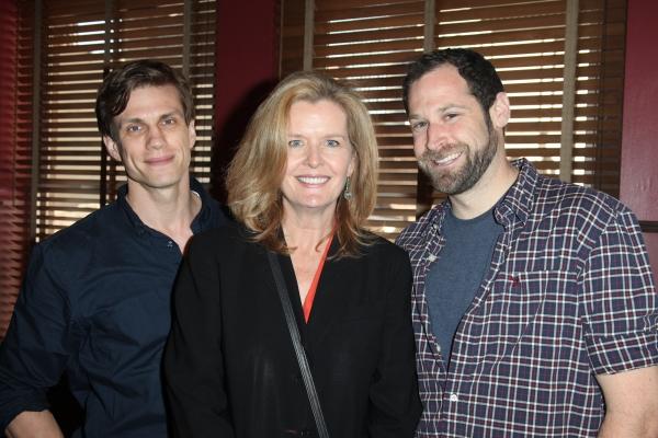 (L-R) Lee Aaron Rosen, Jordan Baker and Jon Levenson attends Sardi's unveils Caricatures of 'The Normal Heart' Tony Award Nominees Ellen Barkin, John Benjamin Hickey & Joe Mantello at Sardi's in New York City.