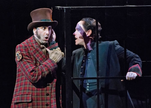John Cariani as Dogberry and Michael Stewart Allen as Borachio in The Old Globe's Shakespeare Festival production of William Shakespeare's Much Ado About Nothing, directed by Ron Daniels, May 29 - Sept. 24, 2011 in the Lowell Davies Festival Theatre. Phot