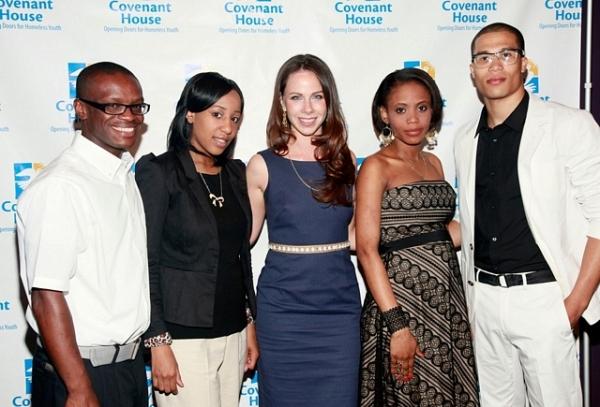 Barbara Bush, center, is pictured with Covenant House youth, from left, Joshua Osborne, Daria Alston, Rubenska Desforges, and Darius Churchman