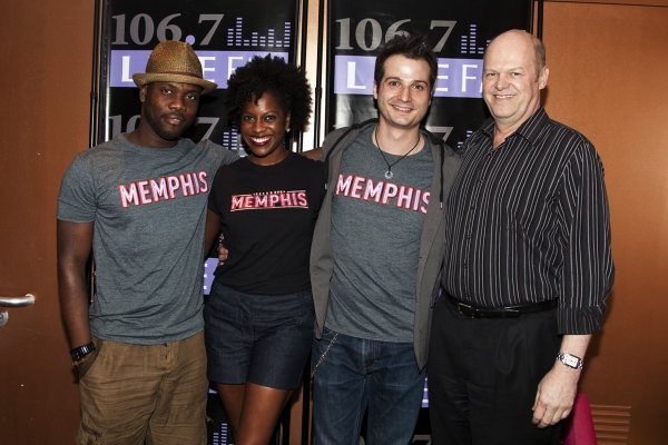 Memphis stars Rhett George, Dan'yelle Williamson, Bryan Fenkart and Memphis producer Randy Adams attend the 2011 Broadway in Bryant Park Kickoff Event Presented by 106.7 Lite FM