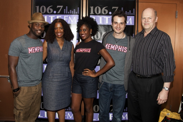 Memphis' Rhett George, 106.7 Lite FM's Juliet Little, and Memphis' Dan'yelle Williamson, Bryan Fenkart and Memphis producer Randy Adams attend the 2011 Broadway in Bryant Park Kickoff Event Presented by 106.7 Lite FM