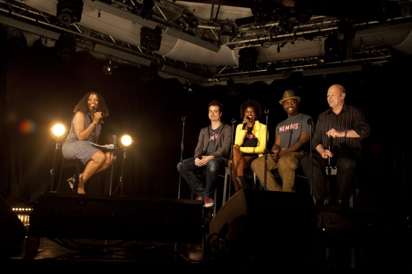 106.7 Lite FM's Juliet Little hosts a Q&A with Memphis stars Bryan Fenkart, Dan'yelle Williamson, Rhett George and Memphis producer Randy Adams at the 2011 Broadway in Bryant Park Kickoff Event Presented by 106.7 Lite FM