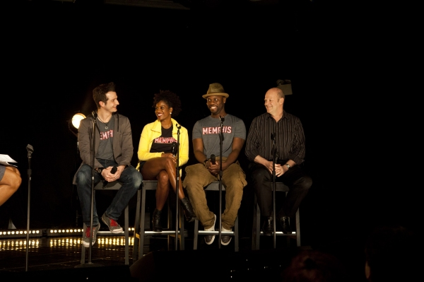 Memphis stars Bryan Fenkart, Dan'yelle Williamson, Rhett George and Memphis producer Randy Adams participate in a Q&A at the 2011 Broadway in Bryant Park Kickoff Event Presented by 106.7 Lite FM