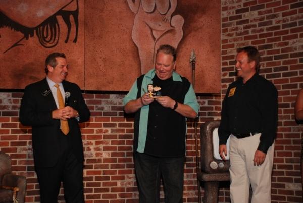 Harrah's President Rick Mazer, Caveman star Kevin Burke, and Caveman producer John Bentham