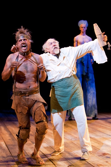 (from left) Jonno Roberts as Caliban, Adrian Sparks as Stephano and Ben Diskant as Ariel in The Tempest by William Shakespeare, directed by Adrian Noble, at The Old Globe June 5 - Sept. 25, 2011.  Photo by Henry DiRocco. at The Old Globe's THE TEMPEST