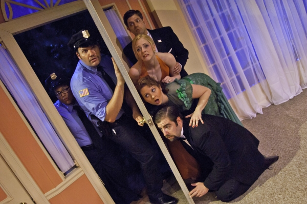 Jamilla Fort as Officer Pudney, Danny Blaylock as Officer Welch and - from bottom up - Colin Wasmund as Ernie Cusack, Erica Livingston as Cookie Cusack, Jackie Washam as Cassie Cooper and Dustin Charles as Glen Cooper