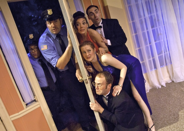 Camilla Fort as Officer Pudney, Danny Blaylock as Officer Welch and - from bottom up - Sean Riley as Ken Gorman, Melissa Macleod Herion as Chris Gorman, Amy Desiato as Claire Ganz and Nickolas Wilder as Lenny Ganz