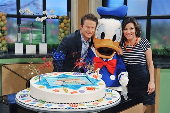 Billy Bush, Donald Duck, Kit Hoover at Donald Duck Celebrates Birthday at Access Hollywood