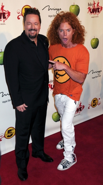 Terry Fator, Carrot Top at the Beatles LOVE by Cirque du Soleil 5th Anniversay Celebration held at the Mirage Hotel and Casino Las Vegas.