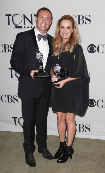 Tim Chappel and Lizzy Gardiner in the Press Room at The 65th Annual Tony Awards in New York City.