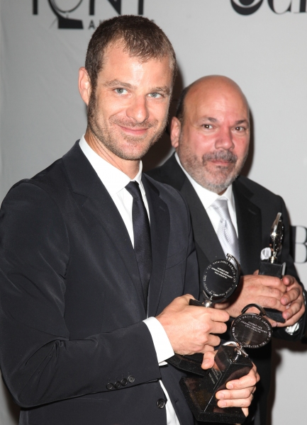 Matt Stone & Casey Nicholaw in the Press Room at The 65th Annual Tony Awards in New York City.  at 2011 Tony Awards Winners - Part Two!