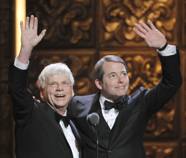Actors Robert Morse and Matthew Broderick wave from onstage during the American Theatre Wing's 65th annual Tony Awards ceremony in New York, June 12, 2011