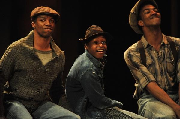 Rodney Hicks, Jeremy Gumbs and Chrisitan Dante White of 'The Scottsboro Boys' perform Photo