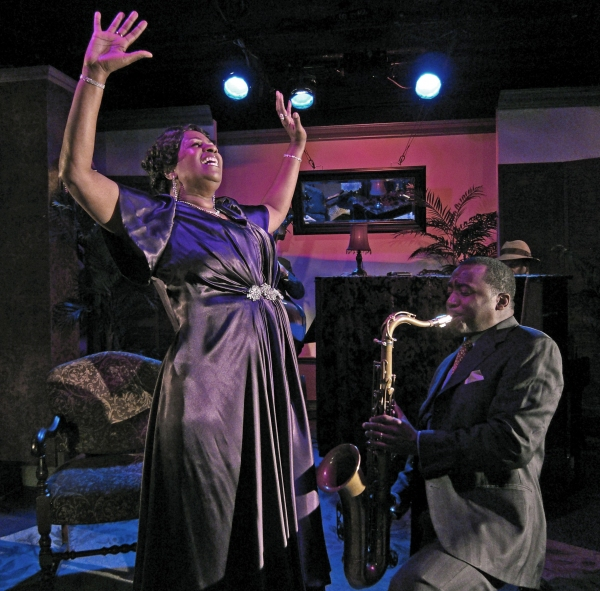 Miche Braden (Bessie Smith), Jim Hankins (bass) (partially seen), Keith Loftis (saxophone).