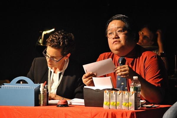 Judge's table - Rona Lisa Peretti (Jessica Sporn) and Douglas Panch (John Villa)  Photo