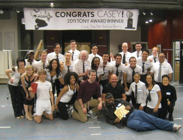 Photo Flash: ALADDIN Cast Congratulates MORMON's Casey Nicholaw at Seattle's 5th Avenue Theatre!