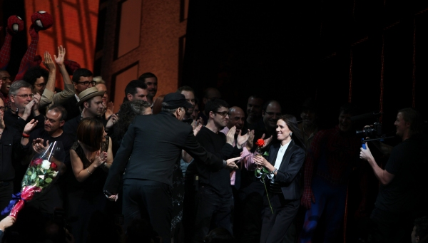 Julie Taymor and Philip William McKinley (Director)  during the ''Spider-Man Turn off Photo