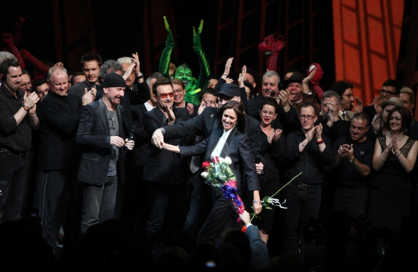 The Edge, Bono, Julie Taymor and Philip William McKinley (Director)  & Company during Photo