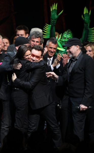 The Edge, Bono, Julie Taymor and Philip William McKinley (Director)  during the ''Spi Photo