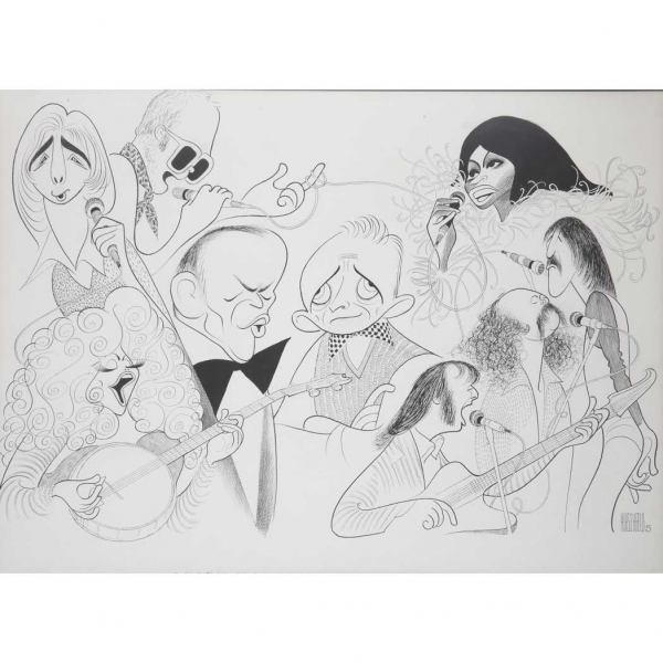 Dolly Parton , Barry Manilow, Elton John, Frank Sinatra, Bing Crosby, Diana Ross, Graham Nash, Stephen Stills and David Crosby at Al Hirschfeld Drawings Up for Auction & More for 108th Late Birthday